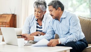 An elderly couple completing an Advance Care Plan